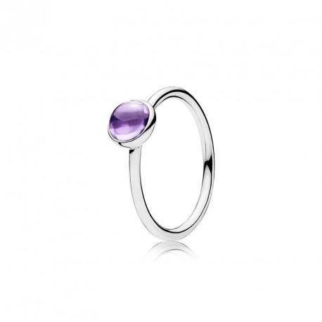 Кольцо с пурпурным фианитом Цветная капля