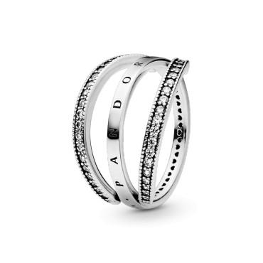 Кольцо Переливающиеся сердца Pandora