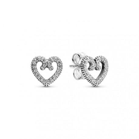 Серьги-гвоздики Закрученные сердечки