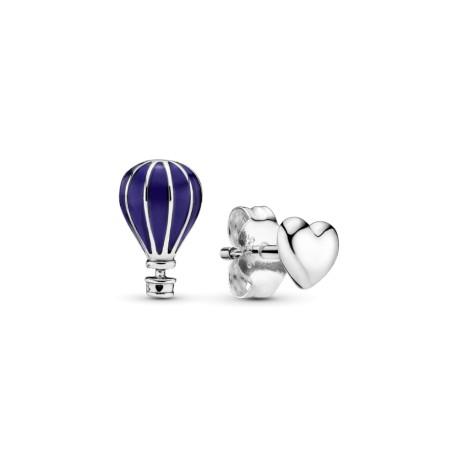 Серьги-пусеты Воздушный шар и сердце