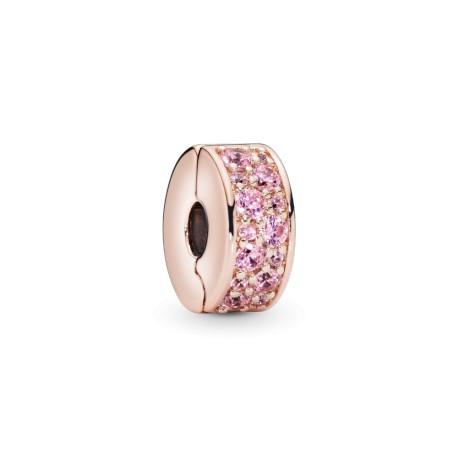 Клипса PANDORA Rose Розовая сверкающая элегантность