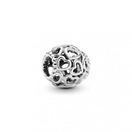 Серебряная подвеска-шарм ажурная с сердечками
