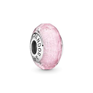 Бусина из розового переливающегося ограненного муранского стекла