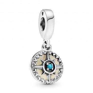 Шарм-подвеска из серебра с бирюзовым кристалом и серебристой эмалью
