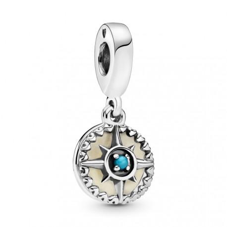 Шарм-подвеска из серебра с бирюзовым кристалом и серебристой